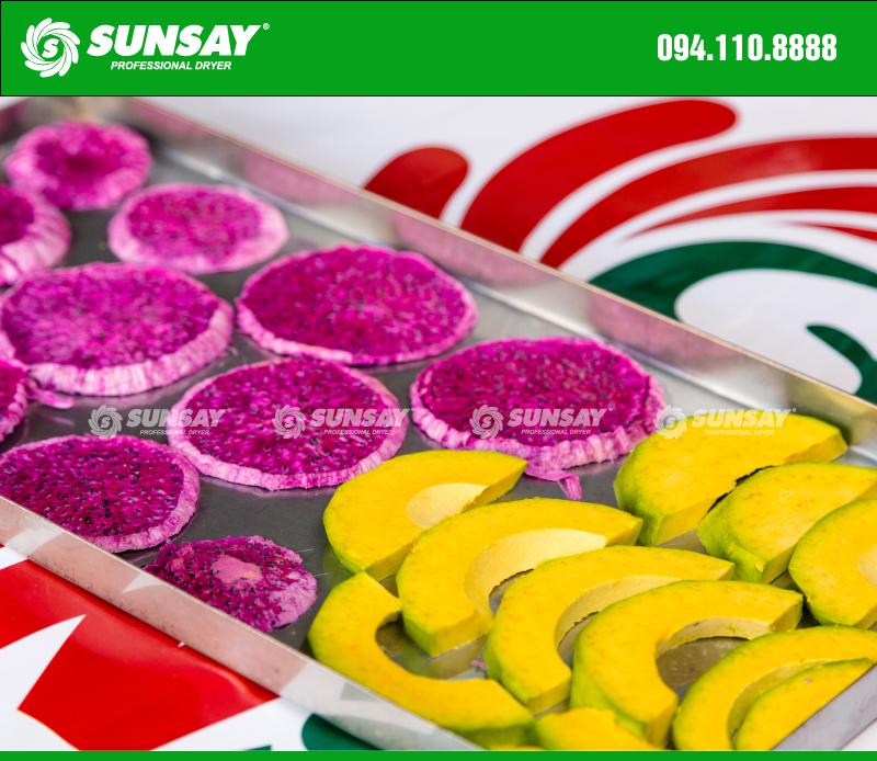 Máy sấy thăng hoa SUNSAY dùng để sấy hoa quả mềm, nhiều tinh dầu như bơ
